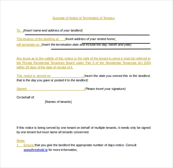 sample lease termination form doc
