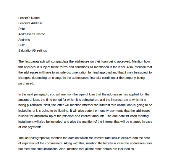 Business Loan Commitment Letter Sample
