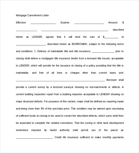 basic mortgage commitment letter