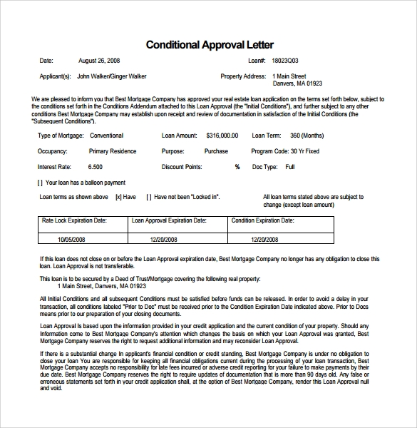 example mortgage commitment letter