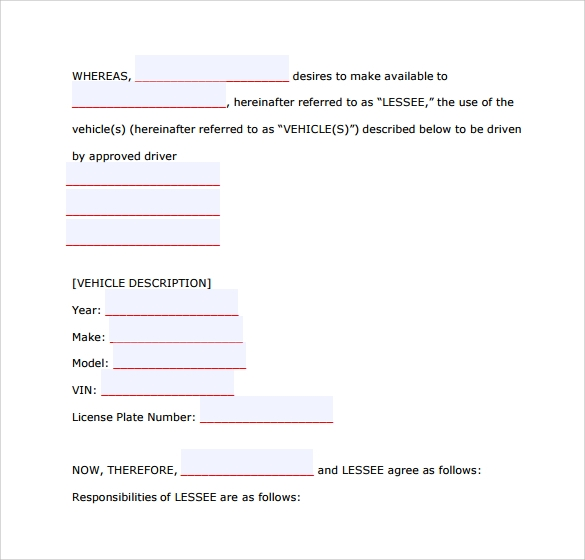 Sample Car Lease Form   Download Free Documents In Pdf