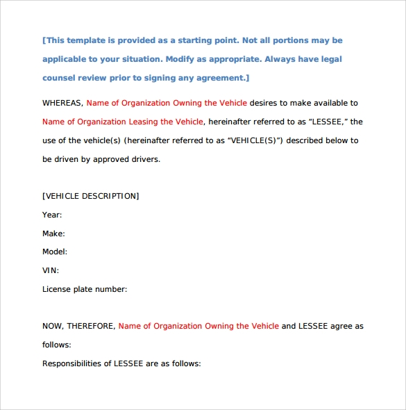 general car lease form
