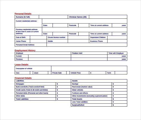 car lease form pdf