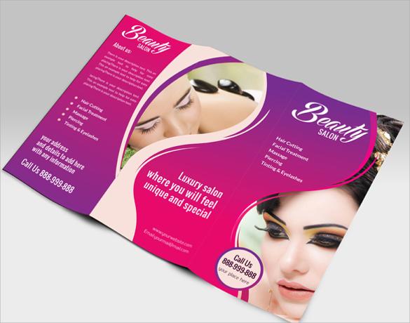 beauty saloon spa tri fold brochure