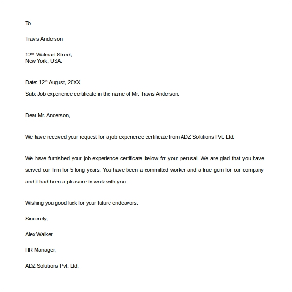 Sample experience letter 9 documents in pdf word job experience letter altavistaventures Images