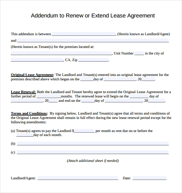 Sample Lease Addendum Form   Download Free Documents In Pdf Word