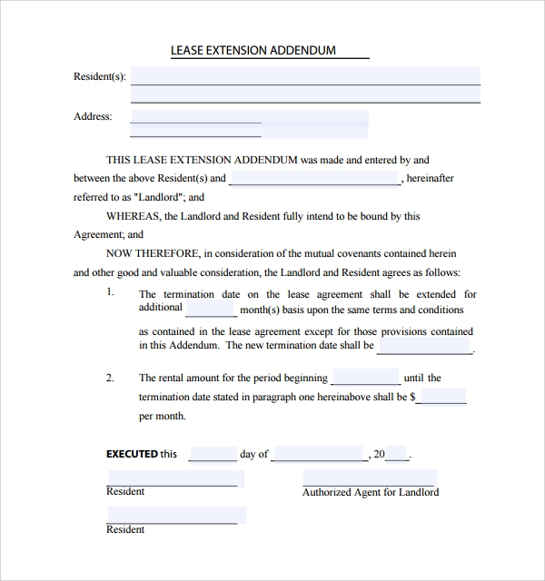 Sample Lease Addendum Form 14 Download Free Documents in PDF Word – Lease Extension Agreement