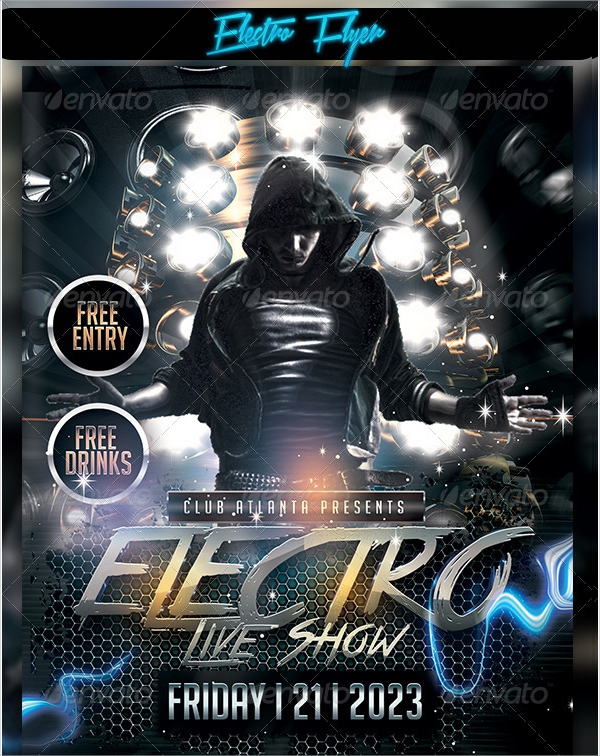 electro flyer photoshop psd format download