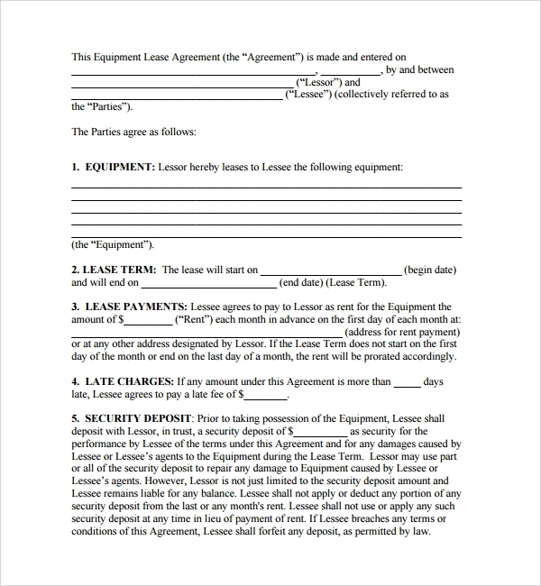 Sample Equipment Lease Form 10 Download Free Documents in PDF Word – Equipment Lease Form