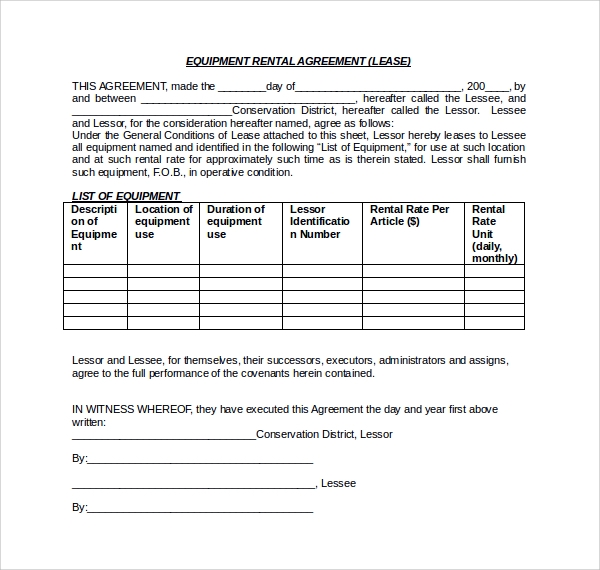 equipment rental lease form