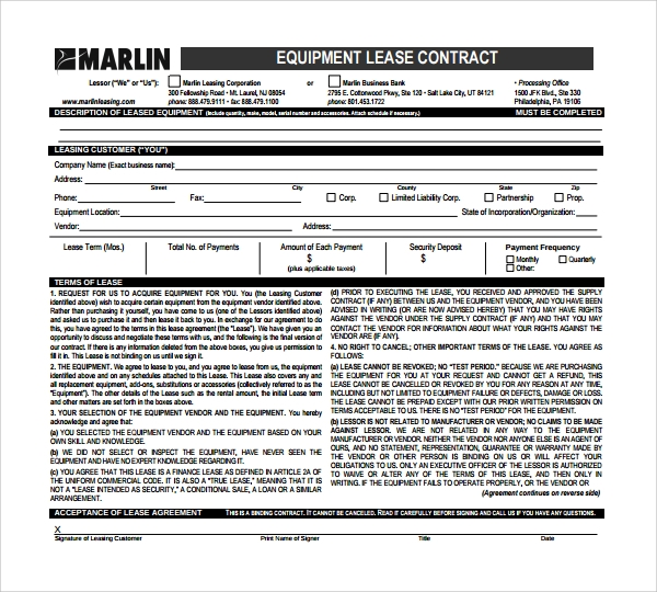 free download equipment lease form