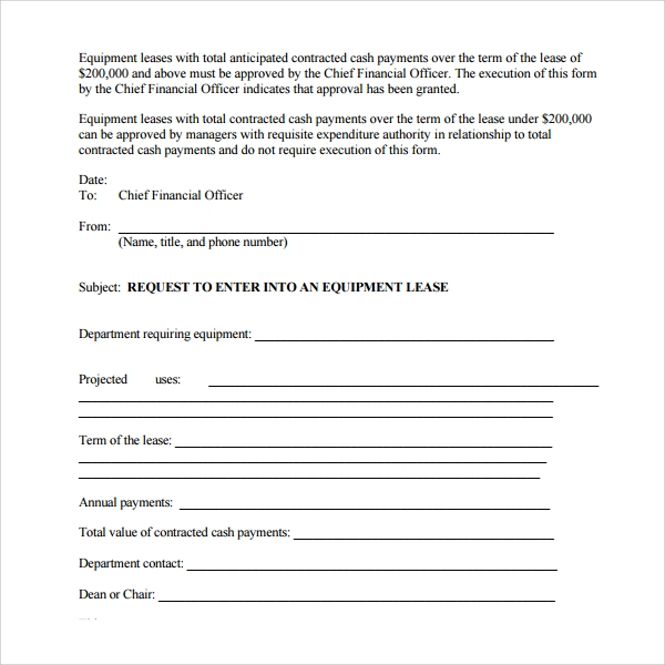 sample equipment lease form