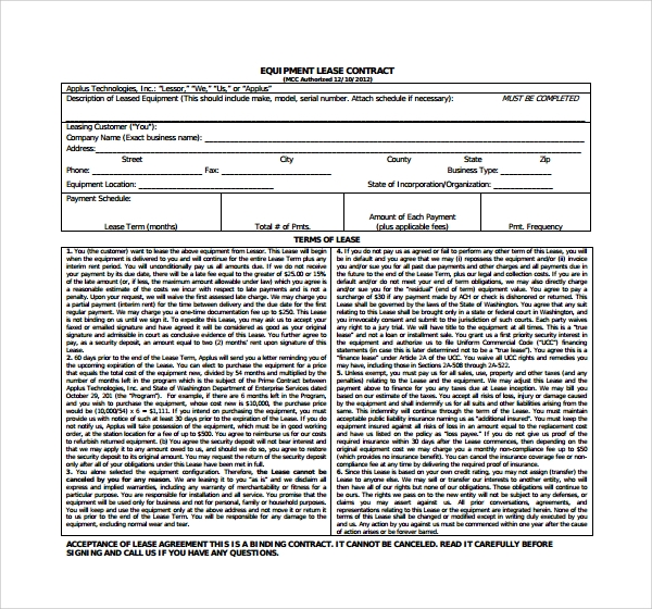 Doc460595 Sample Equipment Lease Agreement Equipment Lease – Equipment Lease Form Template