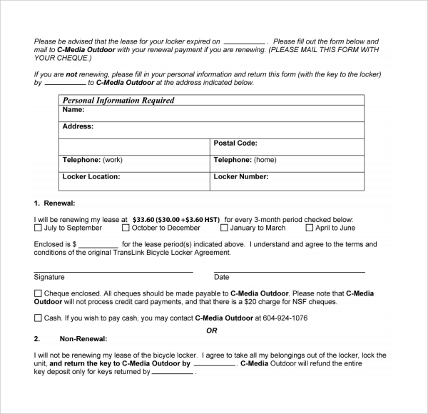 sample rental renewal form