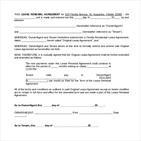Sample Rental Renewal Form   Download Free Documents In Pdf Word
