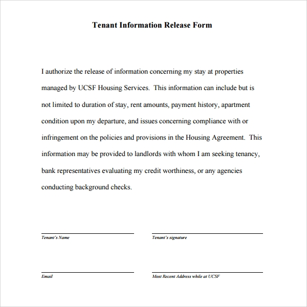 11 tenant information forms pdf word sample templates for General release of information form template