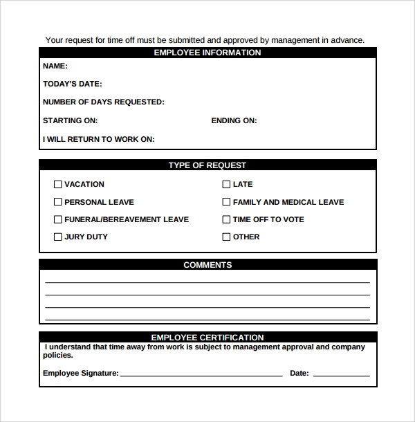 Sample Time Off Request Form 23 Download Free Documents in PDF – Request Form