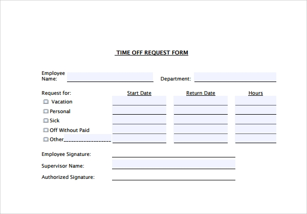 Sample Time Off Request Form   Download Free Documents In Pdf