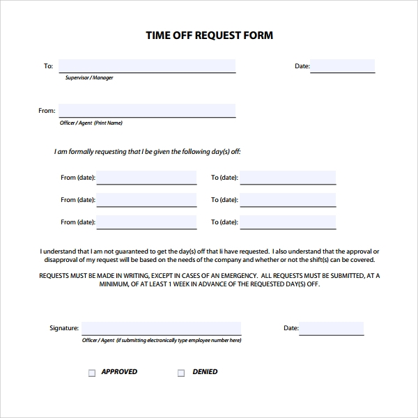 sample time off request form