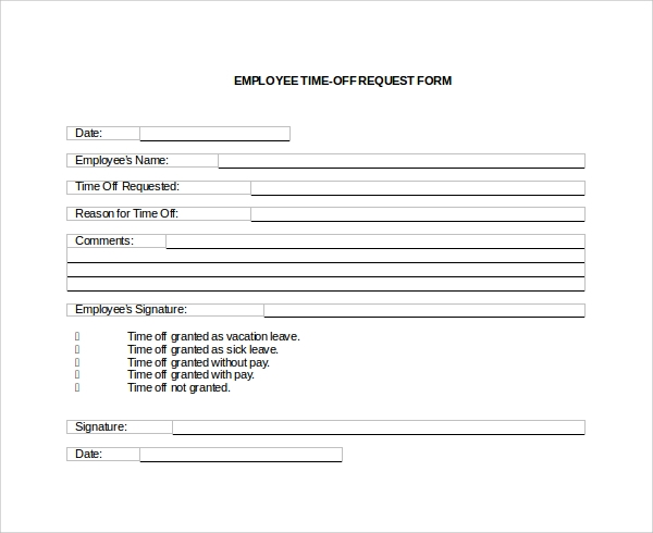 Time Off Request Form Download As Doc Pictures to pin on Pinterest