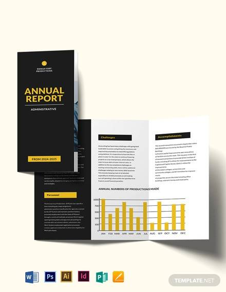 administrative annual report tri fold brochure template