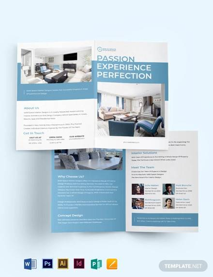 architect interior bi fold brochure template