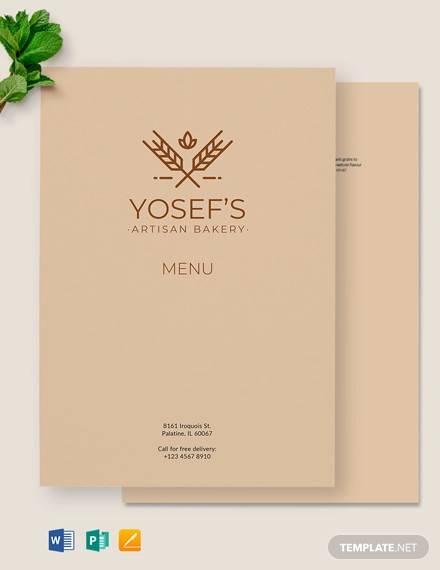 artisan bakery menu template
