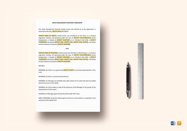 artist management contract template in word
