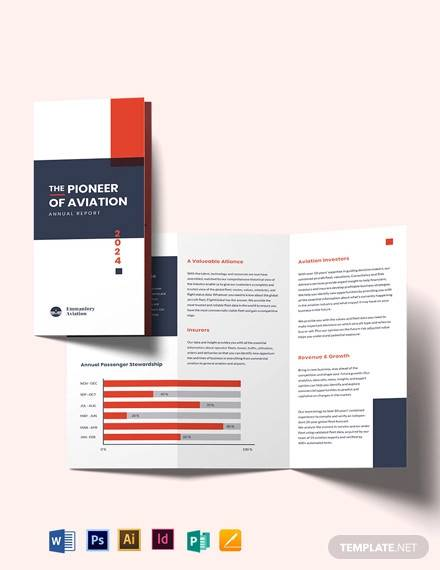 aviation annual report tri fold brochure template