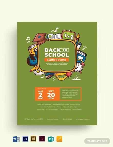back to school raffle flyer template