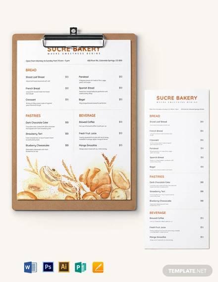 bakery menu board template