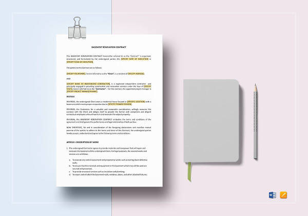 basement renovation contract template to edit