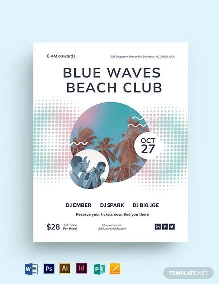 beach club flyer template
