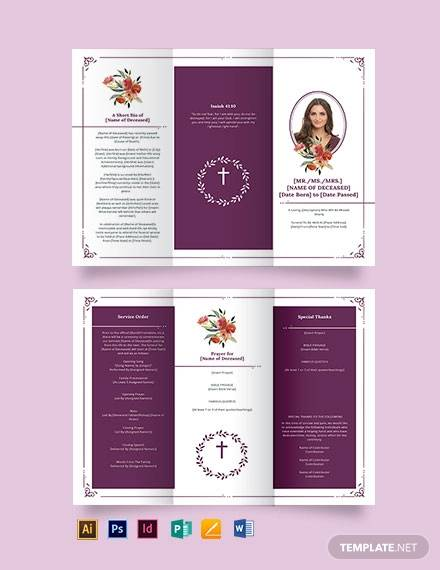 blank catholic funeral tri fold brochure template