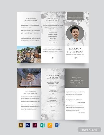 celebration of life evite funeral tri fold brochure template