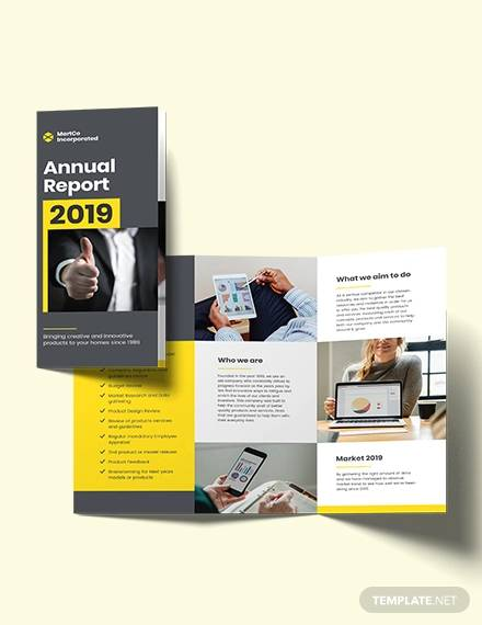 company annual report tri fold brochure template