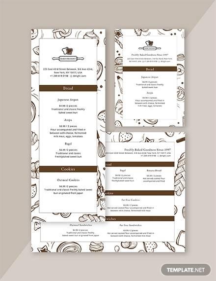 designed bakery menu template
