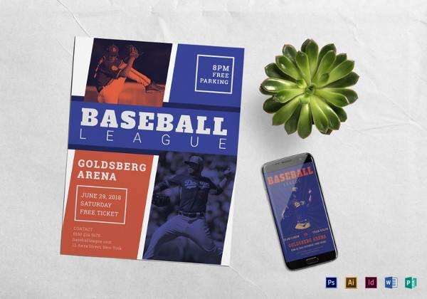 editable baseball league flyer template