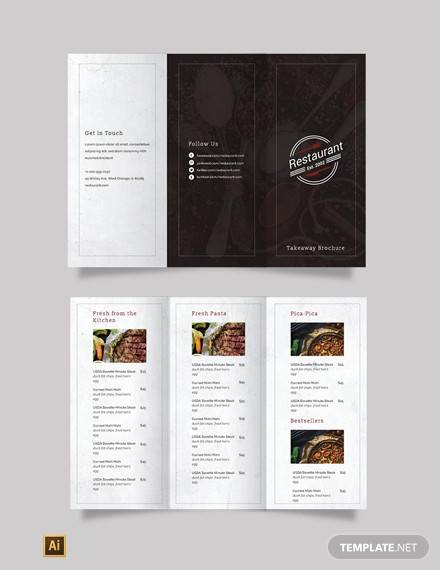 family restaurant tri fold brochure template