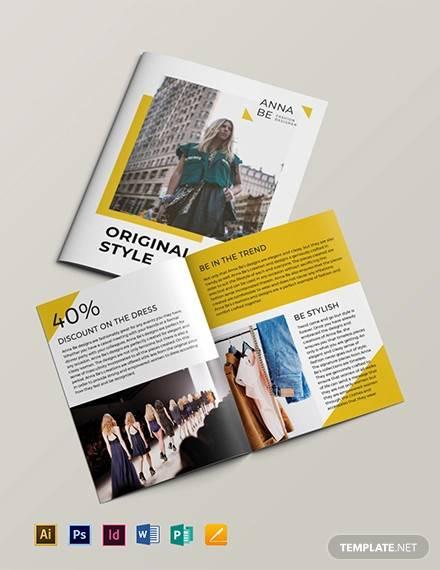 fashion designer bi fold brochure template