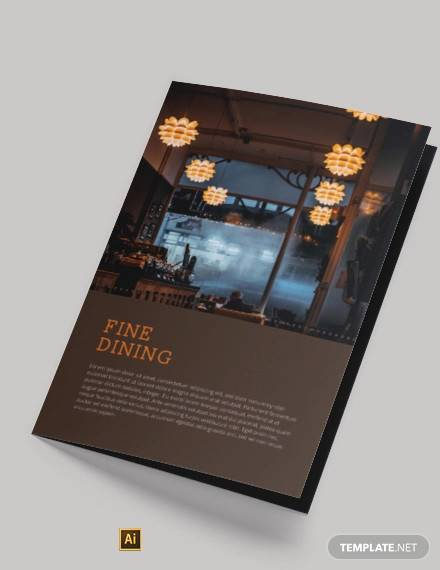 fine dining restaurant take out bi fold brochure template