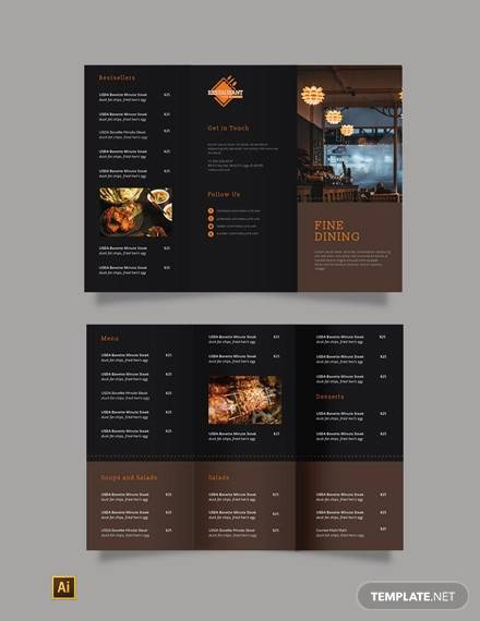 fine dining restaurant take out tri fold brochure template