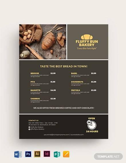 food menu bakery flyer template