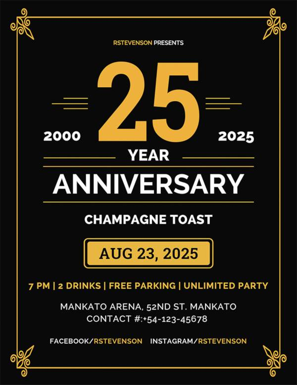 free anniversary flyer template