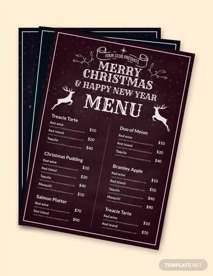 free chalkboard christmas menu template