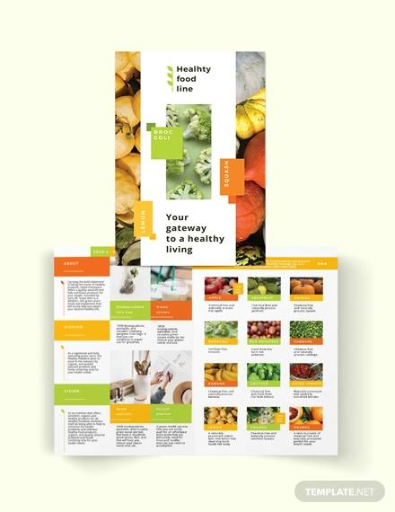 health nutrition bi fold brochure template