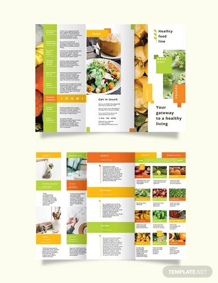 health nutrition tri fold brochure template
