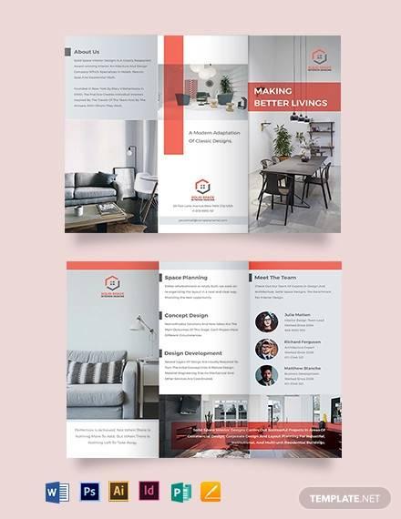 home interior tri fold brochure template