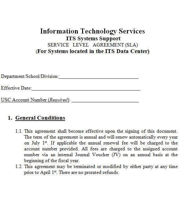 it support contract in ms word
