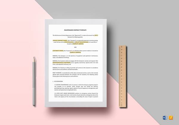 maintenance contract template word